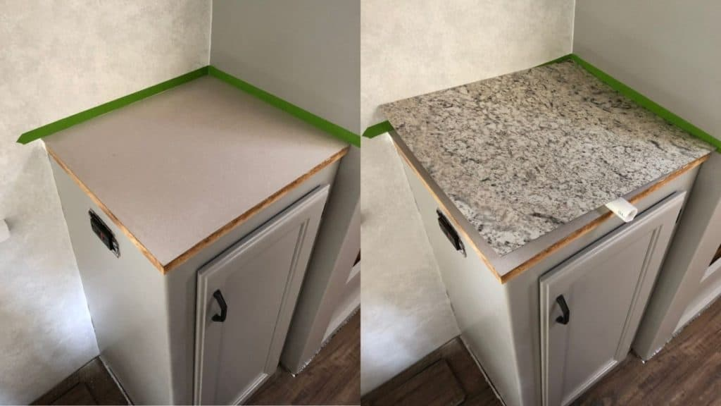 Installing laminate in side counter with pvc pipe