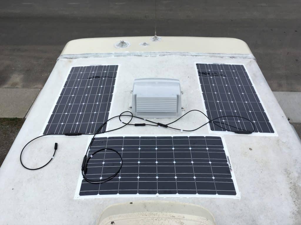 RV solar panels on roof of motorhome