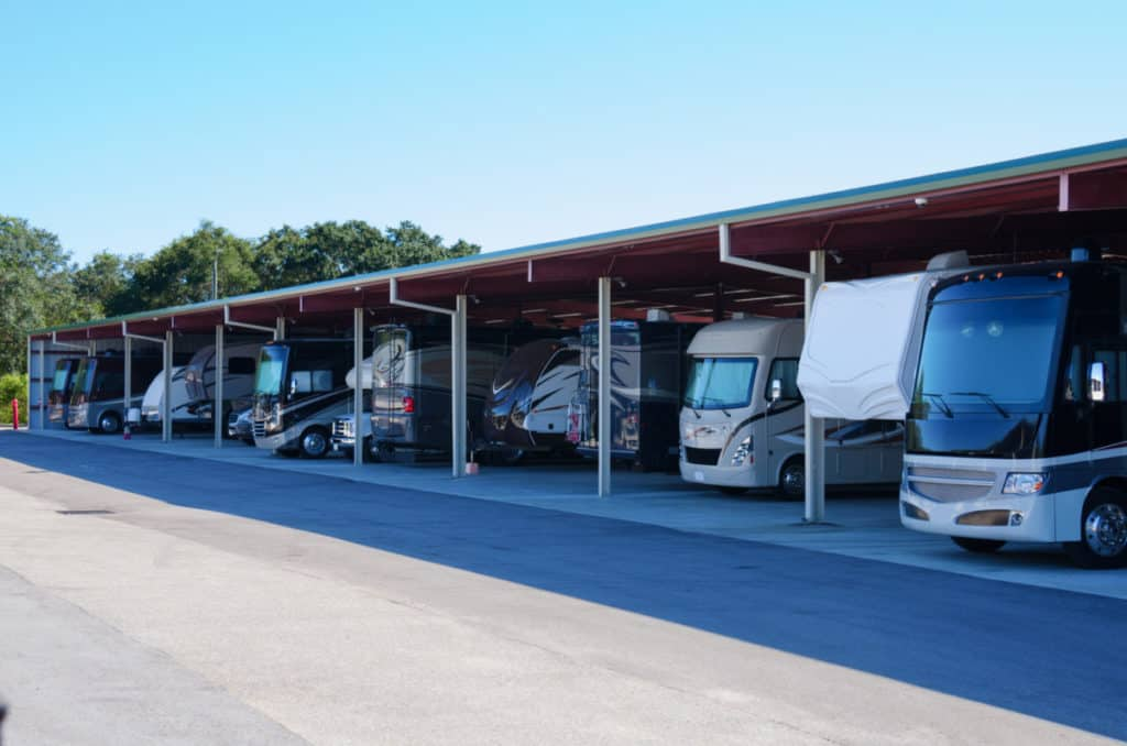 RV recreational vehicle storage parking covered garage