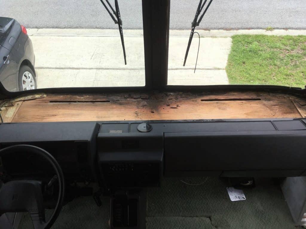 Damaged RV Dash due to windshield leak