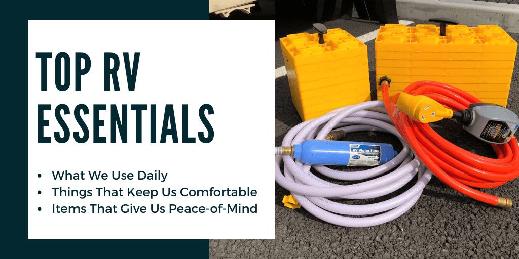 rv essentials, leveling blocks, water hose